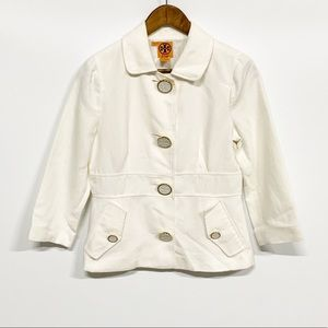 Tory Burch   White Linen Blend 4-Button Blazer 6